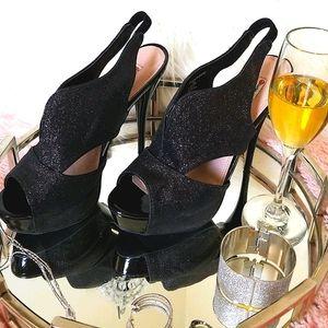 """Black shimmer 5"""" stiletto heel platform shoes."""